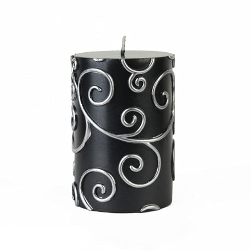 章七面鳥刻むZest Candle CPS-001_12 12-Piece Scroll Pillar Candle, 3' x 4', Black [並行輸入品]