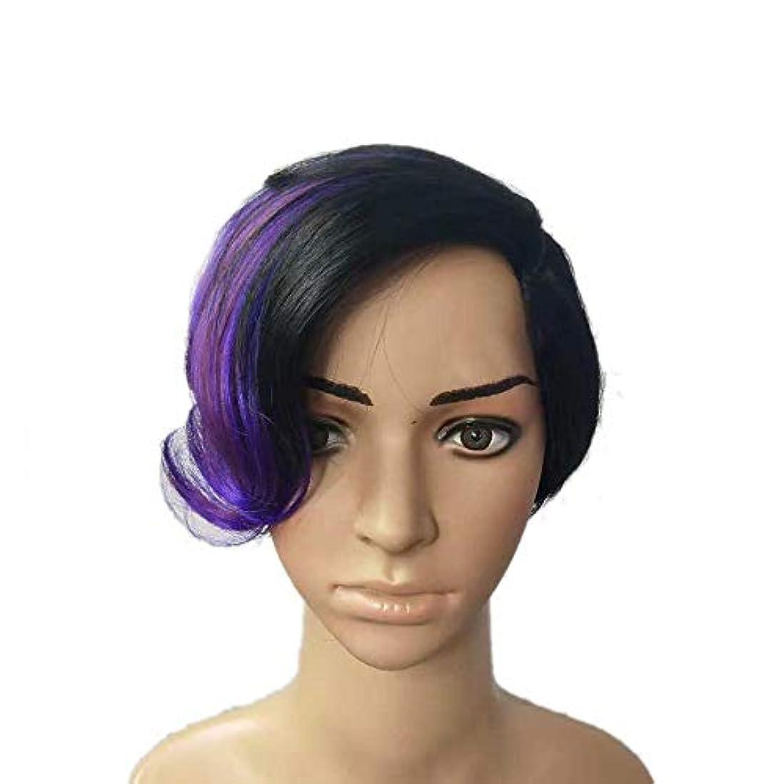 女性グラフィックメッシュWASAIO レディースブラックハイライトパープルショートヘアウィッグアクセサリースタイル交換用コスプレパーティードレス (色 : Photo Color)