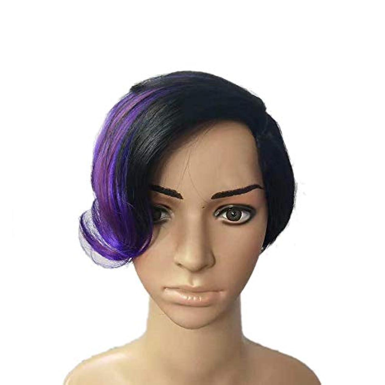 いっぱい慣らす直感YOUQIU 女性の黒のハイライトパープルショートカーリーヘアウィッグコスプレパーティードレスウィッグ (色 : Photo Color)