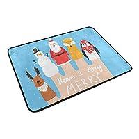 SUKAU 玄関マット 屋外 室内 おしゃれ サンタクロース 動物柄 鹿 キツネ ペンギン バスマット 滑り止め 足ふきマット ドアマット 吸水 キッチンマット 洗える 40×60