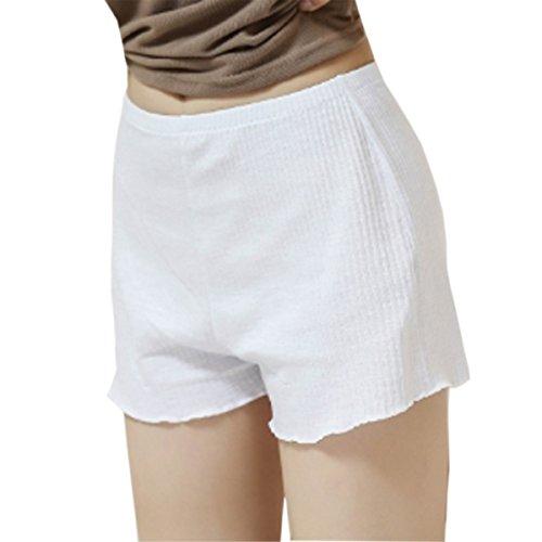 (fesley)インナー レディース ペチコート 透けない パンツ シンプル アンダーパンツ (ホワイト M)