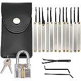 Lock Picking Kit with Practice Lock - Stainless Steel Multitool Practice Tool Lock Set with Padlock 30pcs