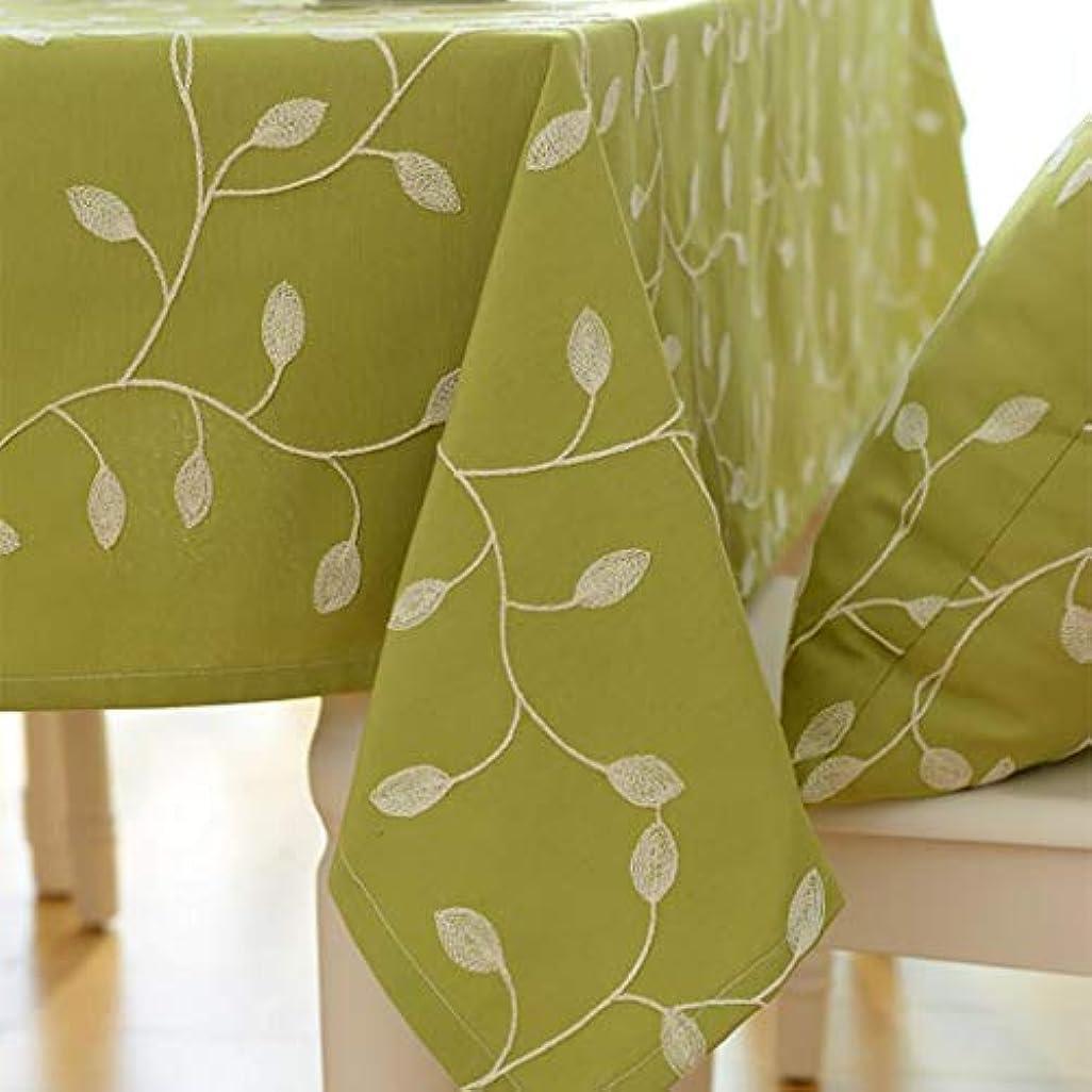 排泄物義務的セッションコットン リネン テーブル クロス,葉刺繍 長方形 テーブルカバーしわフリー 洗えるテーブル クロス ディナー キッチン-緑 丸形:140cm