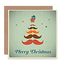 MERRY CHRISTMAS CHRISTMAS MOUSTACHE TREE BIRTHDAY BLANK GREETINGS CARD キリストキリスト木挨拶