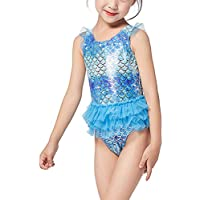 BESPORTBLE Kids Swimwear Mermaid One Piece Bathing Suit Little Girls Princess Cosplay Beach Swimsuit Swimming Bikini Clothes Blue (6-7 Years Old 122cm Height)