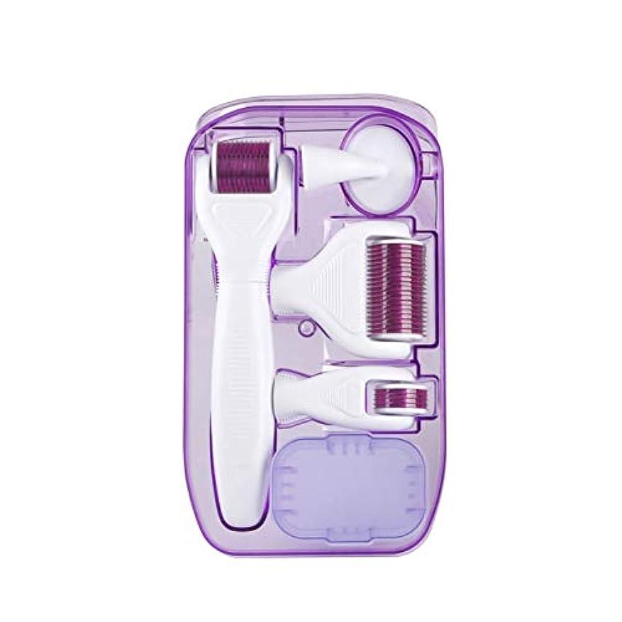 腕拷問疲労ダーマローラー 美容針 6-IN-1キット美顔ローラー鍼 チタン0.25/ 0.3 / 0.3ミリメートルマイクロニード マッサージ ツール ル皮膚再生、アンチエイジング 血行を促進して肌のハリを高めます 充電不要