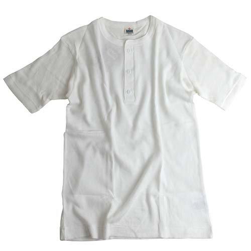 ヘルスニット(Healthknit) 半袖 ワッフル ヘンリーネック Tシャツ WHT LG-005 L