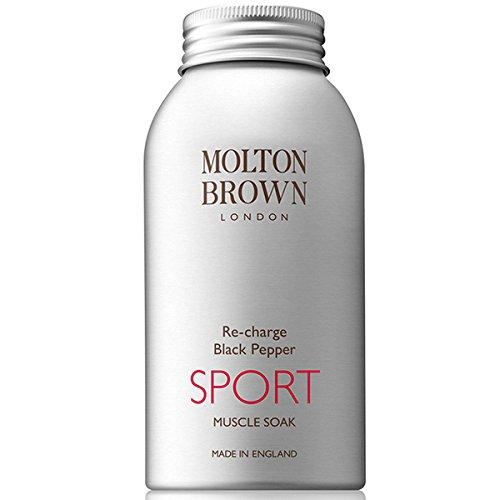 Molton Brown Re-charge Black Pepper SPORT Muscle Soak (モルトン ブラウン リチャージ ブラック ペッパー スポーツ マッスル ソーク ) 10.0 oz (300ml) Bath Salt (入浴塩) for Men