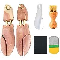 [ikomzo] シューキーパー シューツリー 23.5-29cm対応 靴磨きクロス付 レッドシダー 木製 シワ伸ばし…