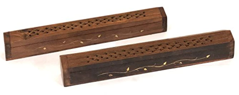 Vrinda 2パック木製Coffin Incense Burner with Leaves Inlaysとストレージコンパートメント – 12 x 2 x 1.5インチ