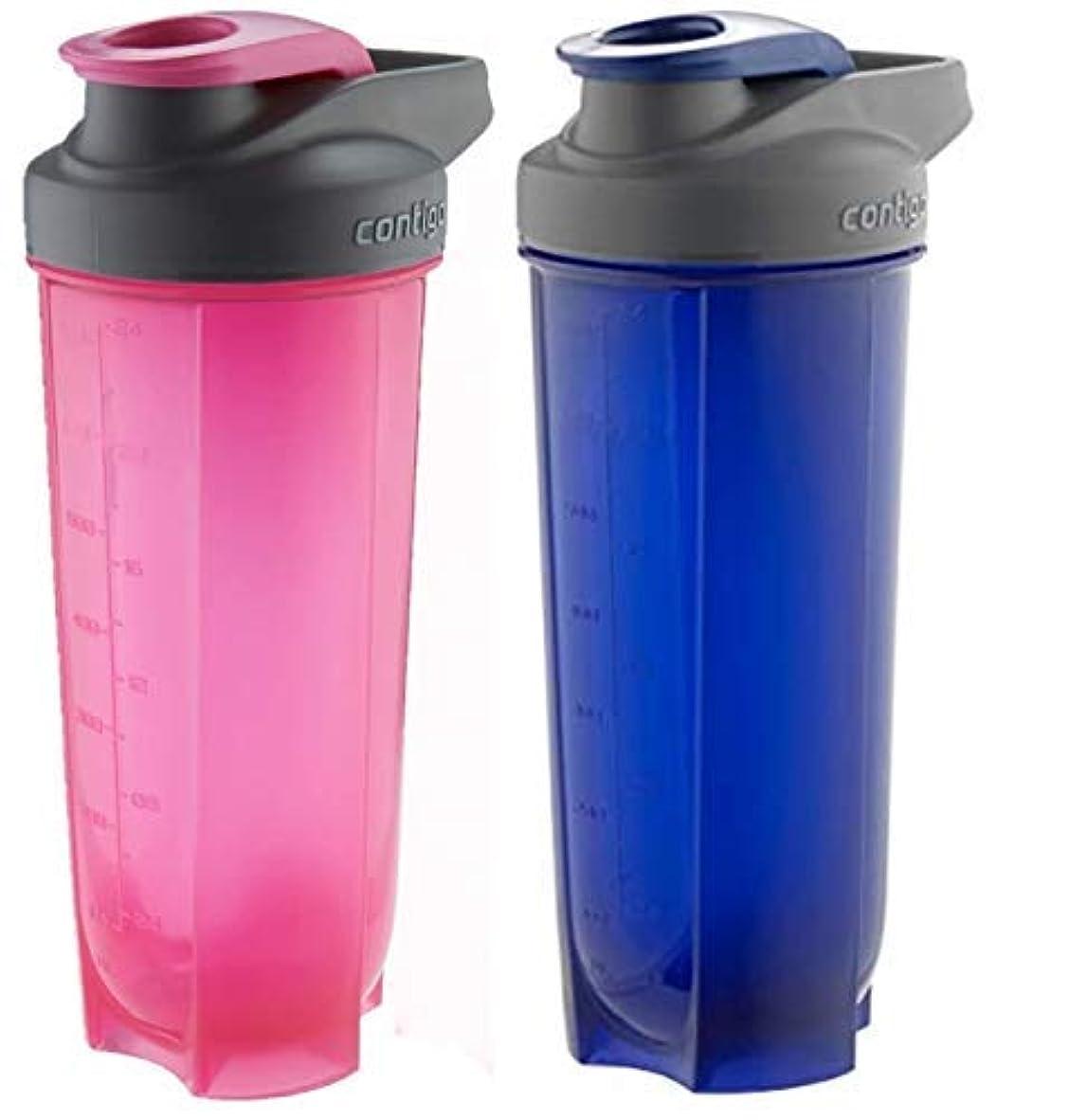 不毛の二年生建物Contigo Shake & Go Fit Bottles, 28 Oz / 828 ml Each, Two Pack, Pink & Blue, His & Hers Shaker Bottles [並行輸入品]