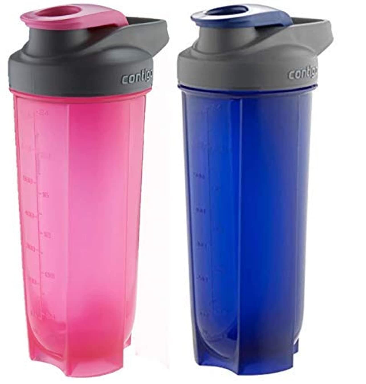 仕立て屋支給規則性Contigo Shake & Go Fit Bottles, 28 Oz / 828 ml Each, Two Pack, Pink & Blue, His & Hers Shaker Bottles [並行輸入品]