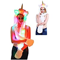 Women Animal Faux Fur Hoodie Hat Winter Light Up Gloves Scarf Paws LED Costume
