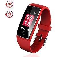 AngelaKerry 最新版 スマートウォッチ カラースクリーン 血圧 活動量計 心拍計 歩数計 スマートブレスレット 防水 ランニングモード リアルタイム測り 電話着信 LINE SMS 他のAPP通知 iphone&Android対応 日本語説明書