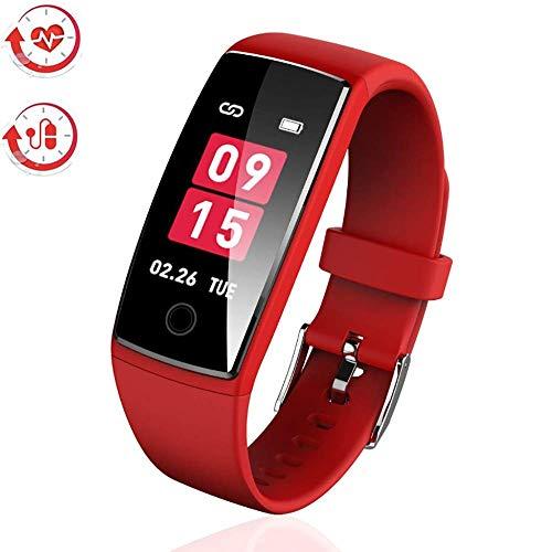 AngelaKerry 最新版 スマートウォッチ カラースクリーン 血圧 活動量計 心拍計 歩数計 スマートブレスレット 防水 ランニングモード リアルタイム測り 電話着信 LINE SMS 他のAPP通知 iphone&Android対応 日本語説明書 (レッド)