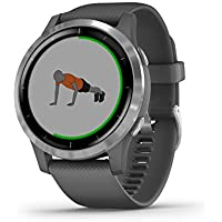 Garmin 010-02174-02 vivoactive 4, GPS Smartwatch, features Music, Body Energy Monitoring, Animated workouts, Pulse Ox Sensors and MoreShadow Gray/Silver