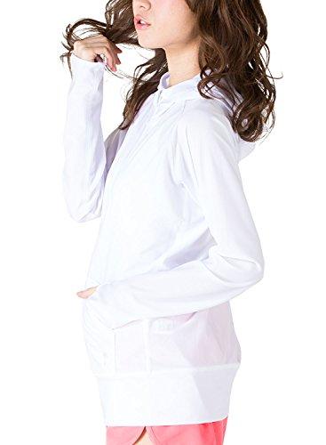 ICEPARDAL(アイスパーダル) 全20色 レディース 無地 ラッシュガード パーカー IR-7100 WHT-SV WMサイズ UPF50 + 長袖 ラッシュパーカー 指穴つき 体型カバー 女性用 水着 おしゃれ かわいい 人気 ホワイト 白色 しろ