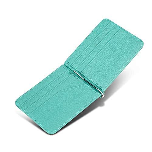 f2767d96eff9 IGENJUN マネークリップ メンズ レディース 本革 二つ折り財布 札入れ 札ばさみ 薄い財布 カードいれ 化粧箱入り ローズレッド 8カラー  (グリーン)