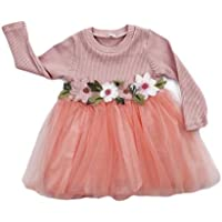 GRNSHTS Baby Girls Flower Applique Gauze Dress Set