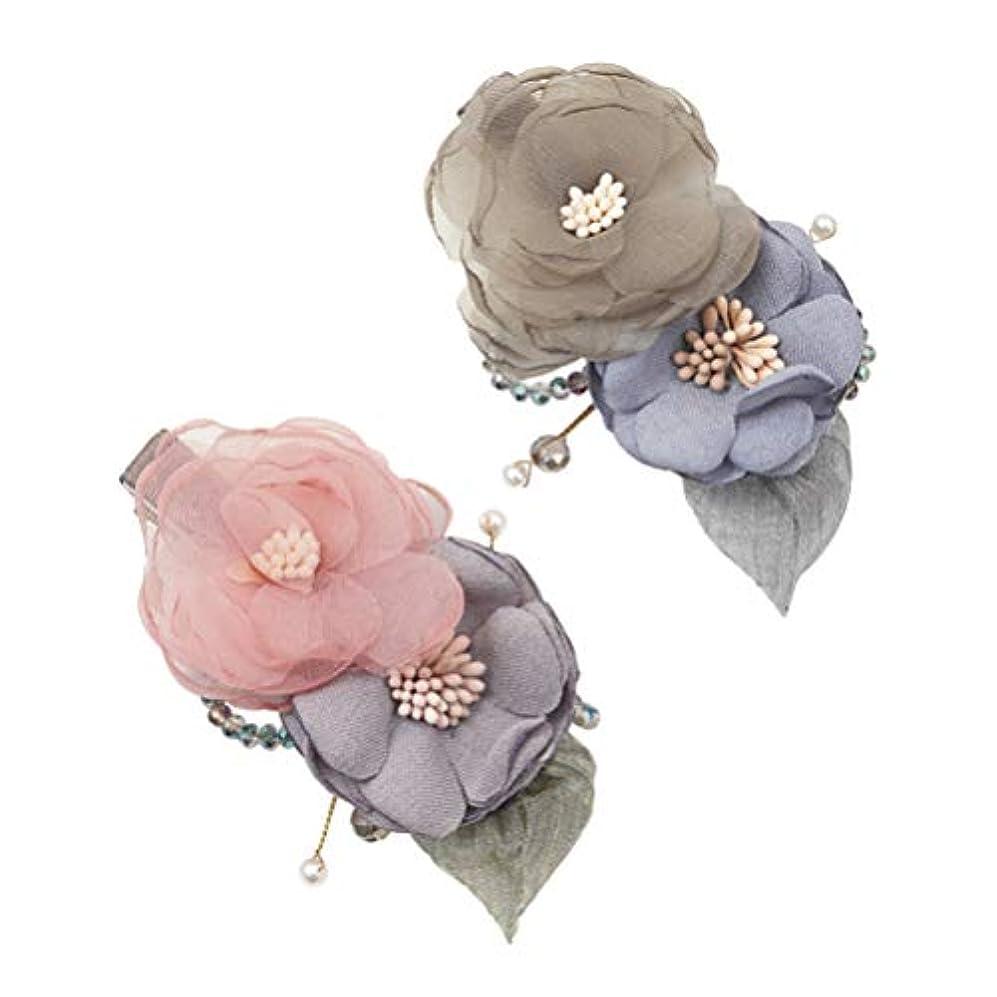 記念品テメリティ麻痺Lurrose 花ヘアクリップ生地エレガントなバレットデートヘアピンクリスマスギフト用女性レディーガール2ピース