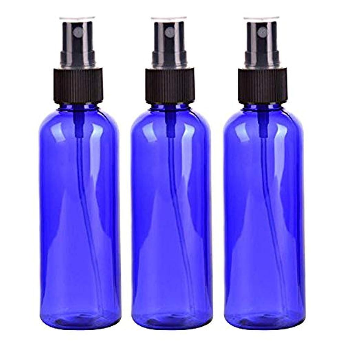 子孫唯物論選ぶスプレーボトル 50mL ブルー黒ヘッド プラスチック空容器 3本セット (青)