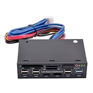 (Ckeyin) 5.25インチベイ内蔵型カードリーダー/ライター 5スロット同時使用 USB2.0/USB3.0ポート2搭載 ブラック