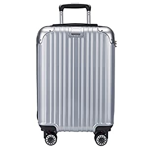 OTT スーツケース 超軽量 TSAロック搭載 Wファスナータイプ 容量拡張 大容量 最大容量20%アップ(S,シルバー)