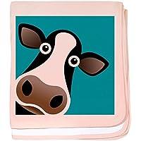 CafePress – Moo Cow 。 – スーパーソフトベビー毛布、新生児おくるみ ピンク 07298874326832E