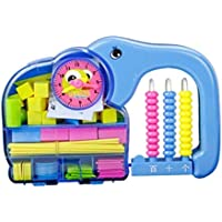 Tuersuer 早期子供用 おもちゃ 1セット 象 モデリング 幼稚園 算術 バー カウンター 時計 幾何学 子供の教育補助 (ブルー)