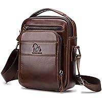 Men's Shoulder Bag, Popoti Handbag Leather Crossbody Bag Shopping School Backpack Messenger Carrying Bags Tote Purse Multifunction Small Card Pocktes
