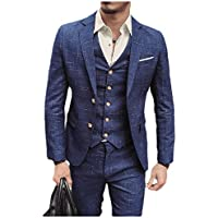 Howely Men's Plaid Buttoned Business Tuxedo Suit Complete Outfits