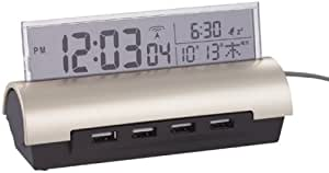 USBハブ付電波時計(カレンダー機能付)