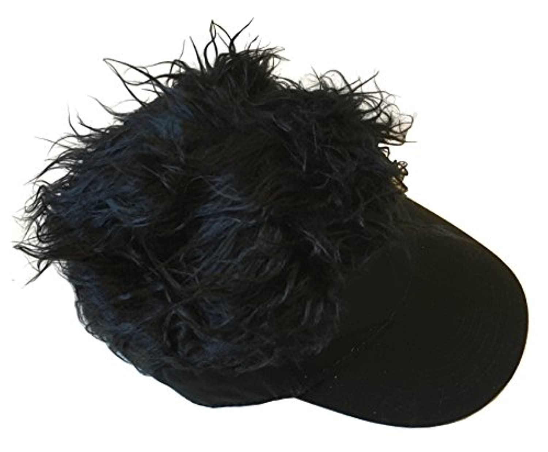 J-base 髪の毛 フサフサ 帽子 アウトドア 釣り キャンプ メンズ 男性 カツラ サンバイザー (ブラックブラック)