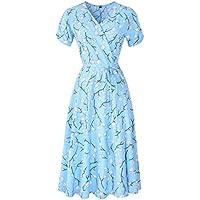 KurKuva Women's Wrap Dress V-Neck Short Sleeve Bohemian Floral Print Flowy Midi Dress