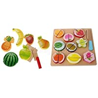 19pcs Kids Preschool木製フルーツCutting Setキッチン木製Food Fruit Toy