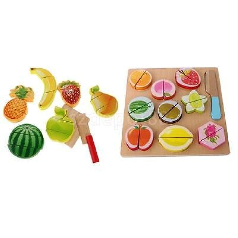 19pcs Kids Preschool木製フルーツCutting Setキッチン木製Food Fruit Toy
