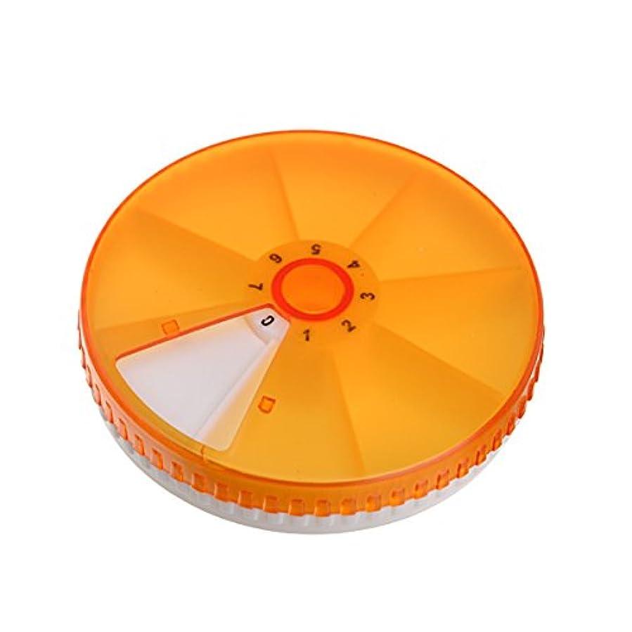 チョークメッシュ落ち着いたHealifty ピルボックスピルコンテナ丸型回転ピルケースタブレットコンテナ(オレンジ)