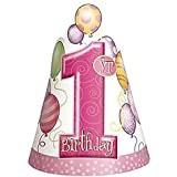Rimi Hanger 子供用1歳の誕生日コーン パーティーハット 8個パック 子供の誕生日パーティー ファンシーアクセサリー ワンサイズ One Size (Pack of 8) ピンク 5128#US