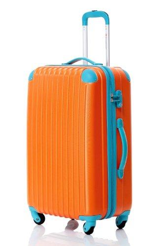 スーツケース キャリーケース 軽量 中型 TSAロック ファスナー 半鏡面仕上げ Travelhouse (M, orange and blue)