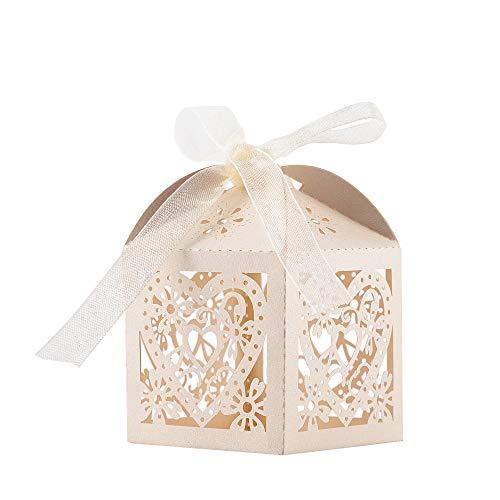 ギフトボックス キャンディボックス お菓子ラッピング お菓子箱 結婚式 ウェディング パーティー 誕生日 チョコレートの包装 ハート柄 リボン付き ホワイト 50個セット