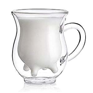 【morningplace】 ダブルウォール グラス ジョッキ ミルク カップ 二重構造 耐熱 カップ 300ml (1個)