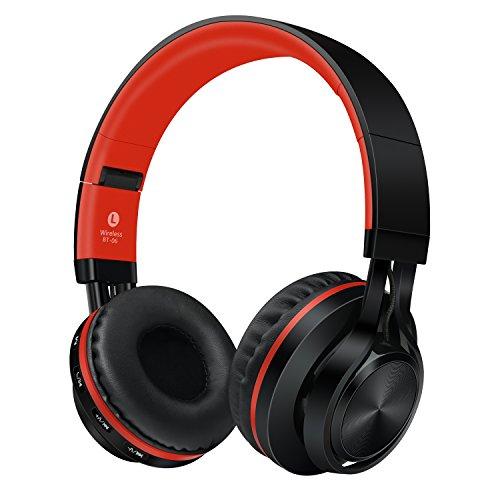 Sound Intone ブルートゥース bluetooth ヘッドホン ワイヤレス インラインマイク付き スマートホン/Pc/TV/iphone/Samsung/Laptop「レッド」 BT-06 (red)