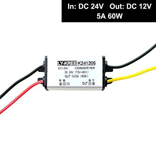 トラック大型車 dcdc コンバータ DC 24V → 12V 5A 60W 直流電圧 変換器 変圧...