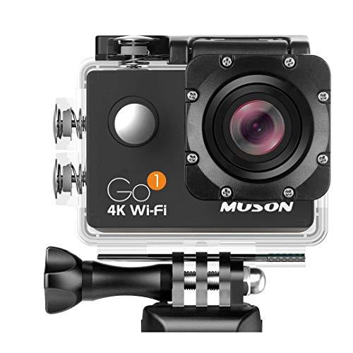 MUSON(ムソン) アクションカメラ 4K超高画質 30M防水 Wi-Fi搭載【メーカー直販・1年保証】2インチ液晶画面 170度広角レンズ HDMI出力 ハルメット/ハンドルバー/ロールバーに取付可能 防水ケース付き 防犯カメラ/ドライブレコーダーとしても使用可能 スポーツカメラ 水中カメラ アクションカム ウェアラブルカメラ GO1