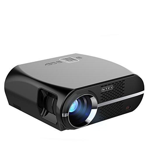 プロジェクター家族用1080P HD重低音スピーカ内蔵、超小型3500ルーメンLEDポータブルホームシアタープロジェクターサポートビデオ 屋外屋内PC /ラップトップ/ DVD /テレビ/ビデオ/写真/ゲーム/映画のための HDMI USD SDカードVGA AVパッケージング リモコン 取扱説明書3+1 AVケーブル、レンズクロス、電源コード、HDインターフェースケーブル付きる(GP100)