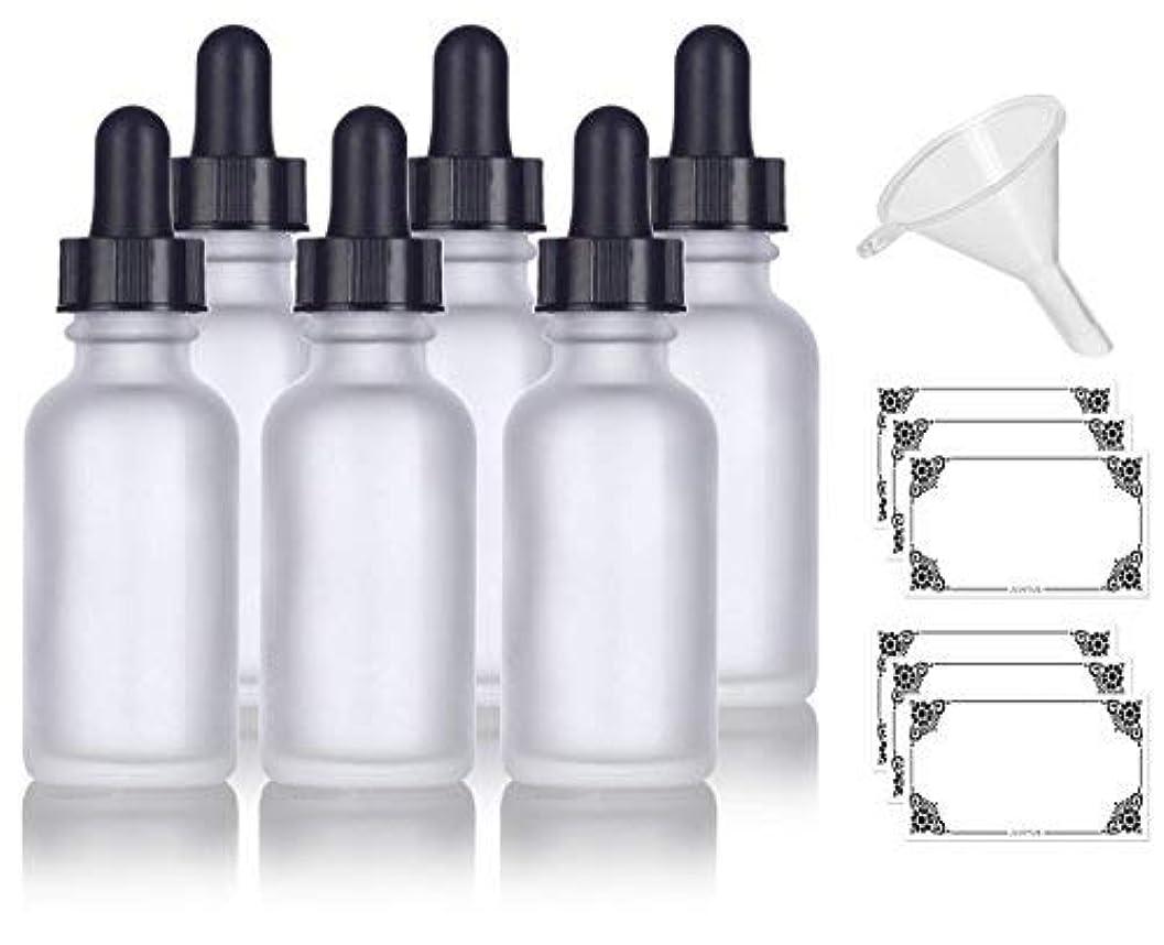 吸い込む軽食海外で1 oz Frosted Clear Glass Boston Round Dropper Bottle (6 pack) + Funnel and Labels for cosmetics, serums, essential...
