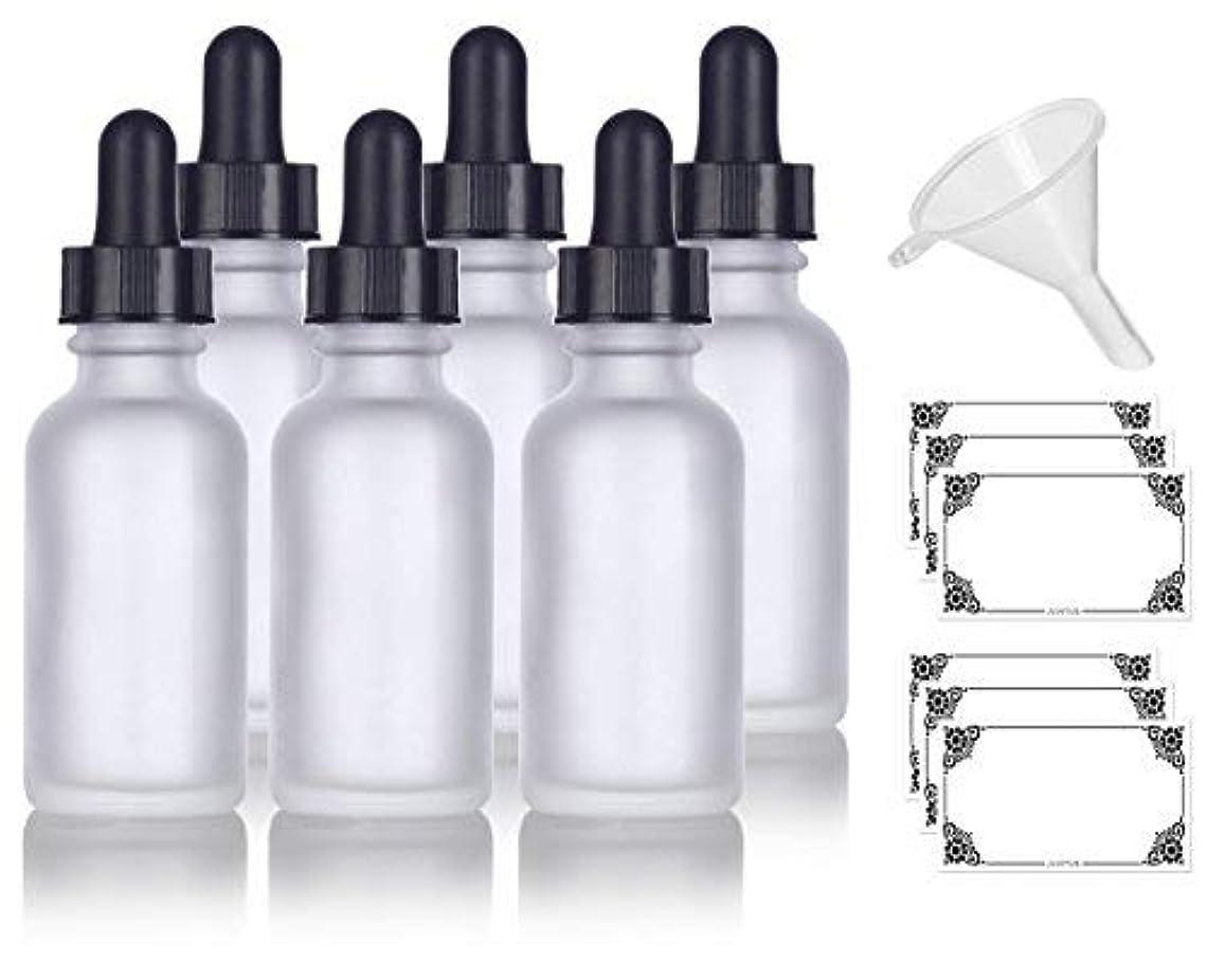 解放するツーリスト杭1 oz Frosted Clear Glass Boston Round Dropper Bottle (6 pack) + Funnel and Labels for cosmetics, serums, essential...