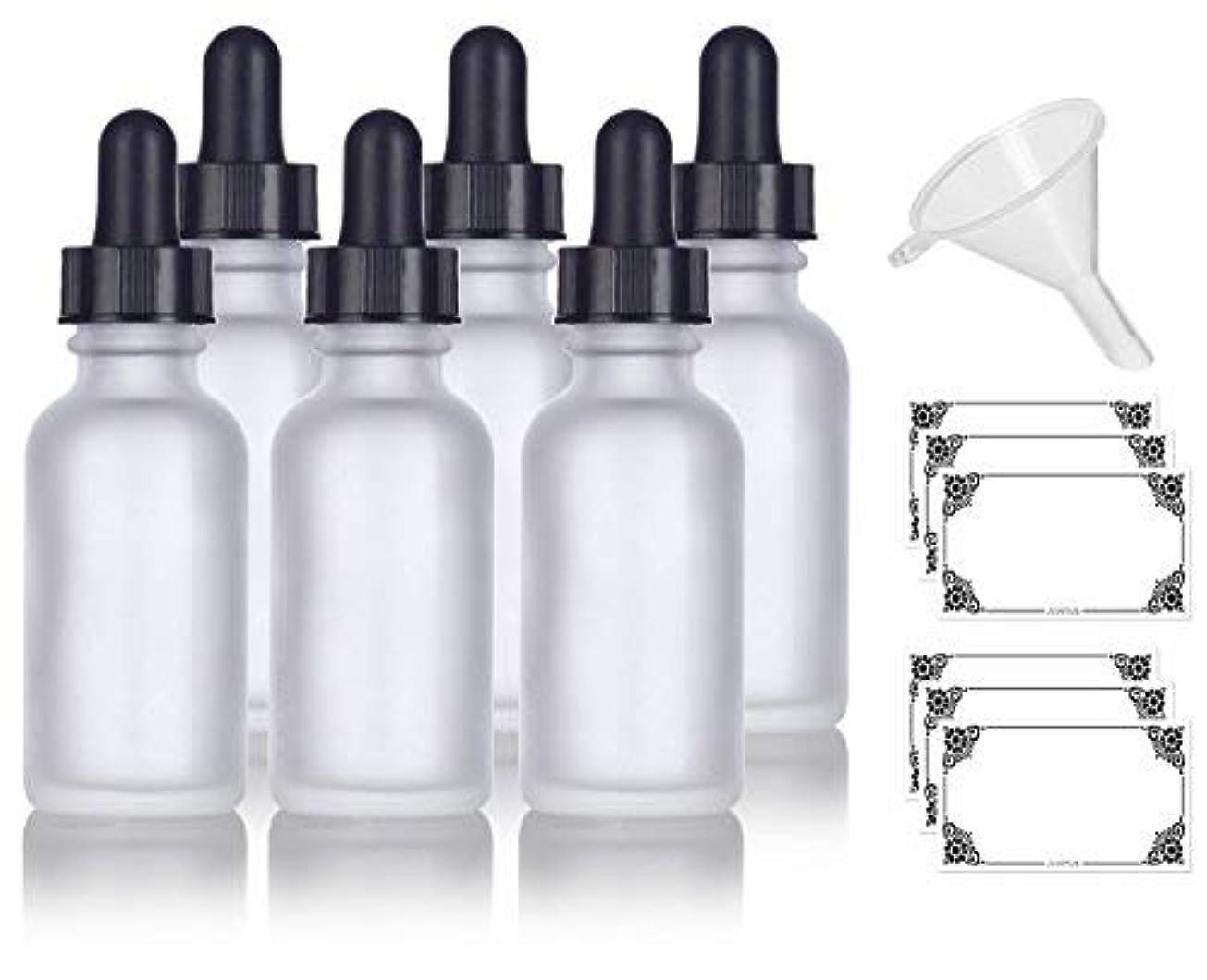 送金均等にロケット1 oz Frosted Clear Glass Boston Round Dropper Bottle (6 pack) + Funnel and Labels for cosmetics, serums, essential...