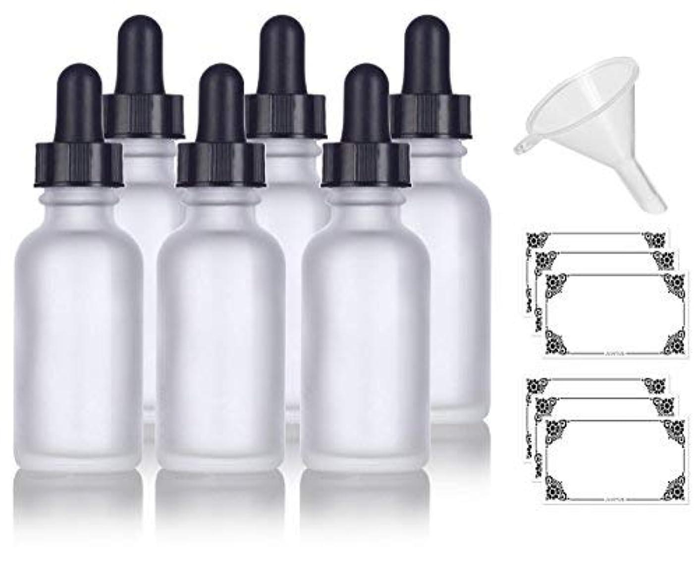 ファントム滅多雇った1 oz Frosted Clear Glass Boston Round Dropper Bottle (6 pack) + Funnel and Labels for cosmetics, serums, essential...
