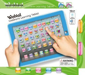 WolVol Childrens Learning Tablet (BLUE), Touch-Screen Lights and Sound (50 Keys 9in*7in) - Great English Learning Starter おもちゃ (並行輸入)